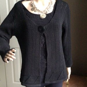 Black Knit Cotton Mix Cardigan
